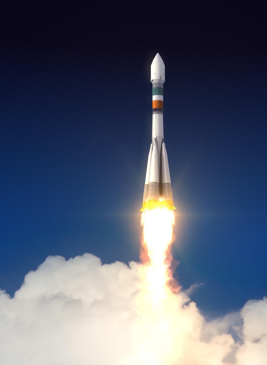 Carrier Rocket Takes Off. 3D Scene.